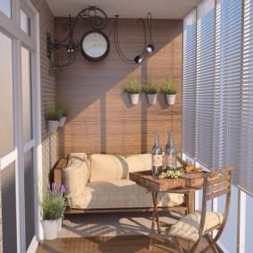 Дизайн балкона в стиле ретро