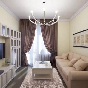 Модульная стенка в узкой гостиной