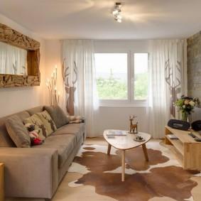 Интерьер гостиной комнаты в эко стиле
