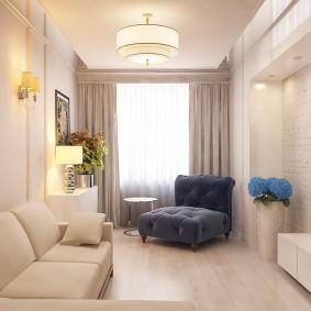 Освещение гостиной комнаты небольшой площади