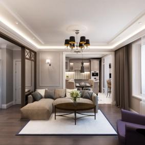 Белый ковер на полу в квартире