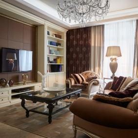Интерьер гостиной комнаты в коричневых тонах