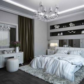 Встроенные полки для декораций в спальне