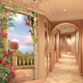 длинный коридор в пастельных тонах