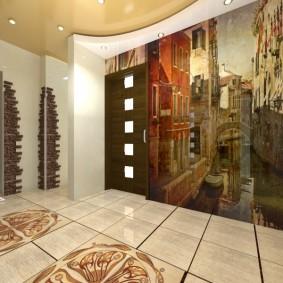 Дизайн холла в частном дом с фотообоями
