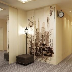 Светлые стены в коридоре трехкомнатной квартиры