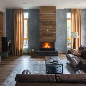 Современная гостиная с электрическим камином