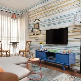 Дизайн гостиной комнаты в стиле ретро