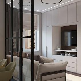 Встроенная мебель в гостиной комнате