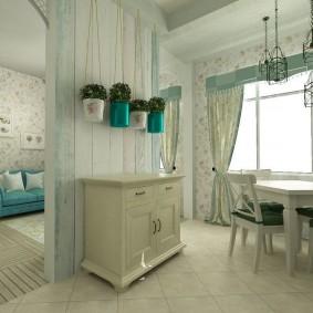 Деревянная перегородка в квартире студии стиля прованс
