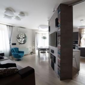 Современный интерьер комфортной квартиры-студии