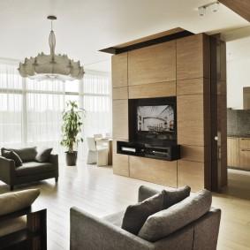 Интерьер квартиры-студии с панорамными окнами