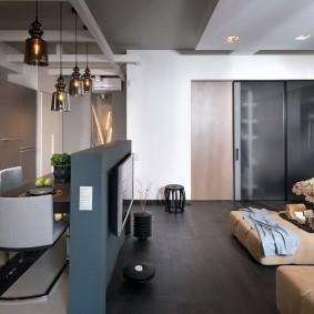 Стильная обстановка в однокомнатной квартире