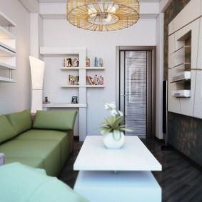 Уютный зал в 2х комнатной хрущевке кирпичного дома