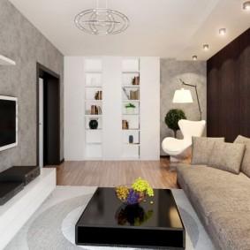 Серые обои на стене с телевизором