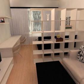 Сквозной стеллаж в роли разделителя пространства комнаты