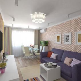 Декор картинами стены в гостиной комнате