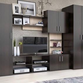 Темно-серая мебель в гостиной комнате