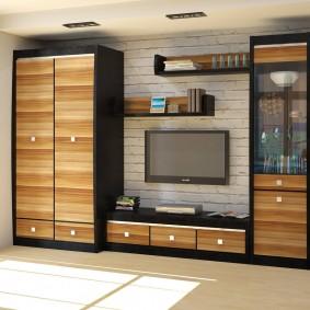 Модульная стенка с деревянными фасадами
