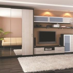 Дизайн гостиной комнаты со стенкой из ДСП