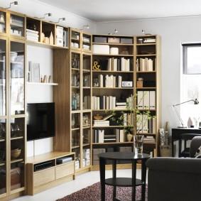 Стенка в гостиную с полками для книг