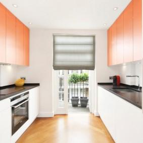 Двухрядная планировка пространства на кухне
