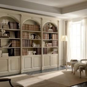 Комбинированные книжные стеллажи в стиле классика