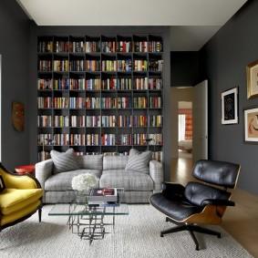 Встроенный стеллаж для домашней библиотеки