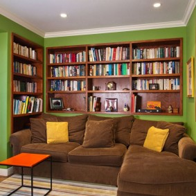 Встроенные полки с книгами в зале