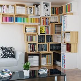 Модульный стеллаж для хранения книг в гостиной