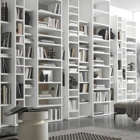 Книжные полки во всю стену гостиной комнаты