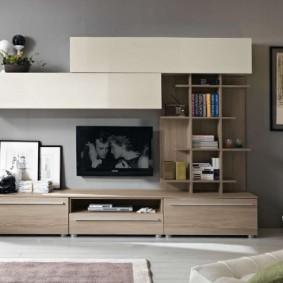 Современная стенка с местом для подвески телевизора