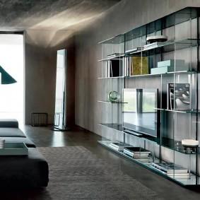 Стеклянная стенка с тумбой под телевизор