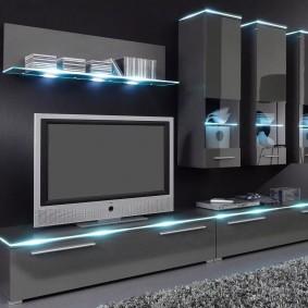 Мебельная стенка с эффектной подсветкой