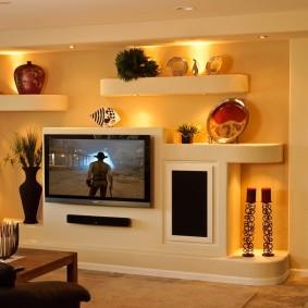 Стенка из гипсокартона с тумбой под телевизор