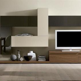 Дизайн мебельной стенки с контрастными фасадами