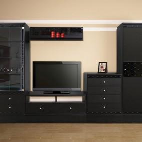 Черная мебель в гостиную большой площади
