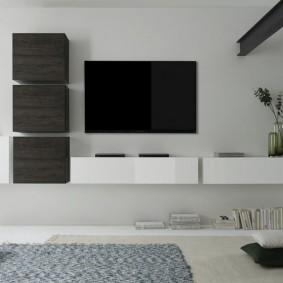 МИодульная мебель в гостиной комнате стиля хай тек
