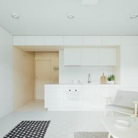 Белый интерьер квартиры свободной планировки