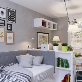 Диван-кровать со спинкой серого цвета