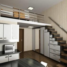 Удобные шкафчики в лестнице на второй ярус квартиры