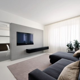 Интерьер зала в стиле минимализма