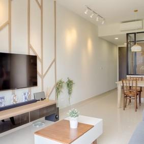 Дизайн кухни-гостиной в светлых тонах