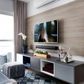 Декор МДФ-панелями стены за телевизором