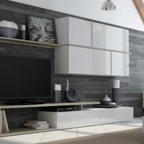 Мебельная стенка с глянцевыми фасадами