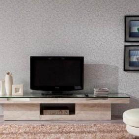 Телевизионная тумба со стеклянной столешницей