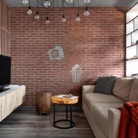 Декор кирпичными обоями стены в гостиной