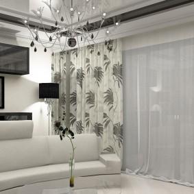 Плотные шторы с серым принтом