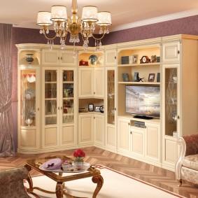 Классическая модель угловой стенки в гостиную