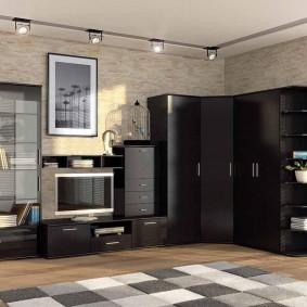 Черная мебель в интерьере гостиной комнаты